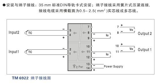 毫伏信号输入,经过隔离变送输出标准的直流信号至控制系统或其它仪表.