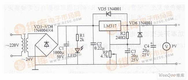 张工程师:简易可调稳压电源电路图