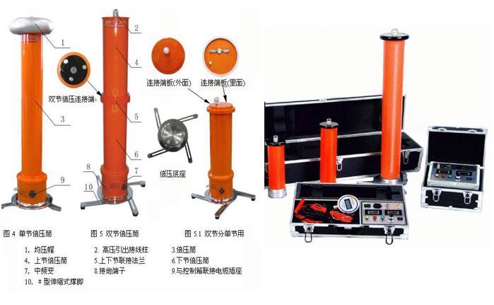 技术参数: 1、电源:AC220V±10%,50Hz±1% 2、额定输出电压:60kV、120kV、200kV、300kV、400kV、600kV、800kV 3、额定输出电流:2mA、3mA、5mA、8mA、10mA 4、输出电压指示精度:<1级 5、输出电流指示精度:<1级 6、纹波系数:≤0.5 7、0.75倍输出电压指示精度:<1级,带锁存 技术条件: 电源:AC220V±10%,50Hz±1% 输出电压指示精度:&